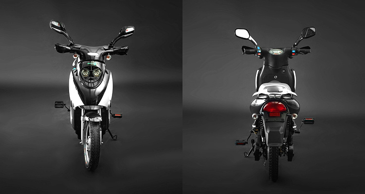 Front and back shots of black electric bike