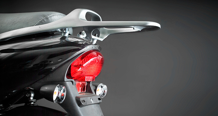 Close up of black electric bike tail light