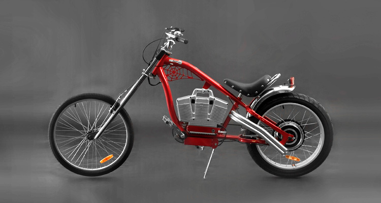 Side shot of red electric chopper bike