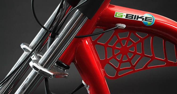 Frame detail of red electric chopper bike