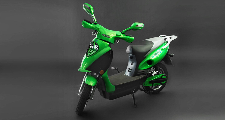 Angle shot of green electric bike