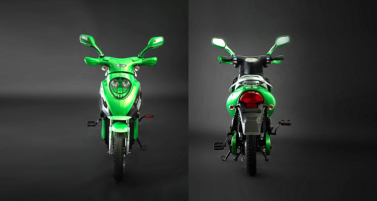Front and back shots of green electric bike