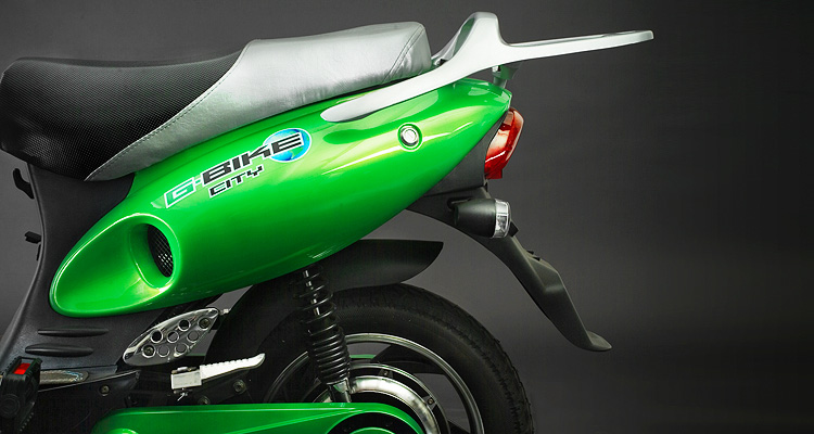 Close up shot of green electric bike engine