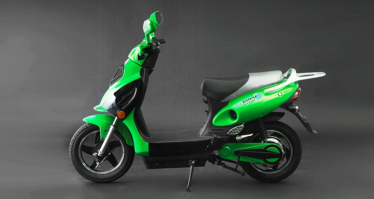 Side shot of of green electric bike