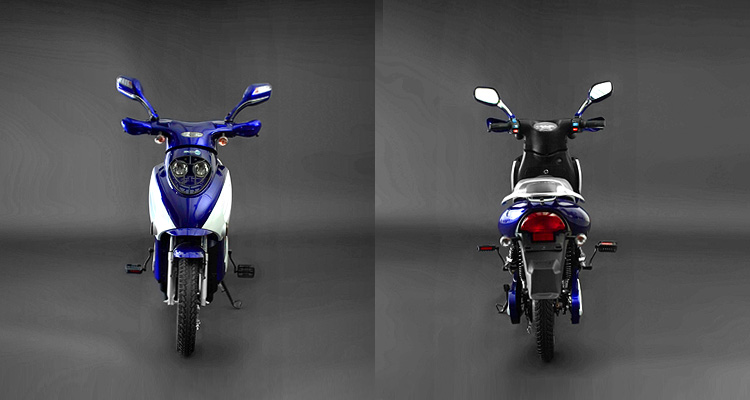 Front and back shots of blue electric bike