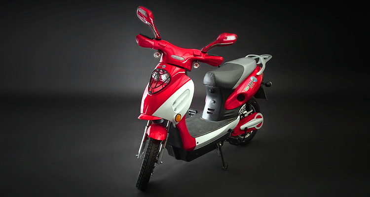 Angle shot of red electric bike