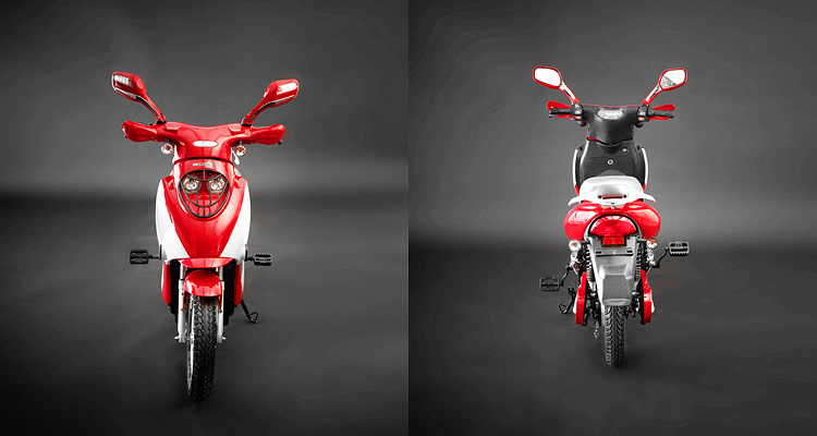 Front and back shots of red electric bike