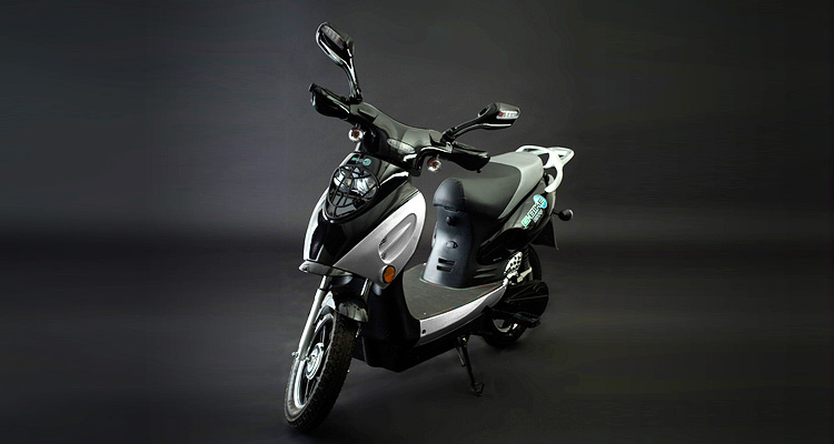 Angle shot of silver electric bike