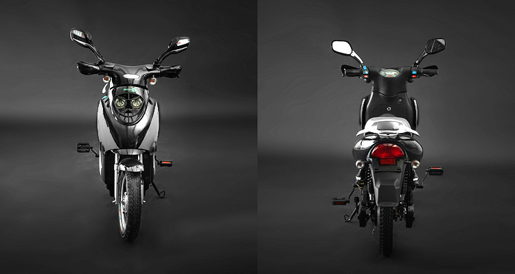 Front and back shots of silver electric bike