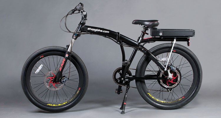 Front angle shot of black electric bike