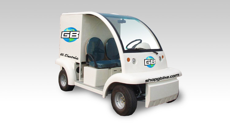 Front shot of commercial delivery vehicle