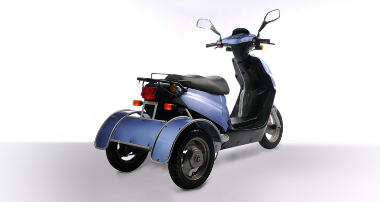 Rear shot of blue commercial delivery trike