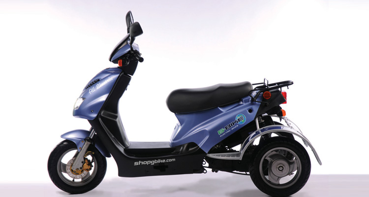 Side shot of blue commercial delivery trike